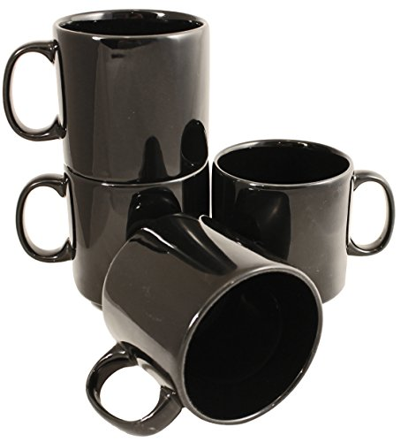 Stackable Ceramic Diner Coffee and Tea Mugs with Pan Scraper, 10 Ounce (4-Pack, Black)