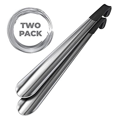 "Metal Shoe Horn Long Handle - 16.5"" Long Shoe Horn for Men and Seniors and Women, 2 Pack, by Velette"