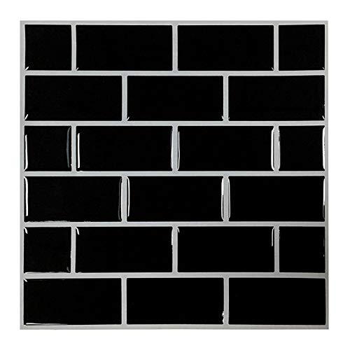 Remarkable Self-Adhesive Backsplash | Premium Anti Mold Peel and Stick Wall Tile for Kitchen,Black Decorative Tile Stickers(9