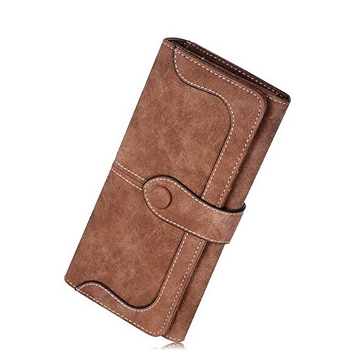 Vintage Leather Holder Clutch Long Bifold Checkbook Wallet Purse (Coffee) ()