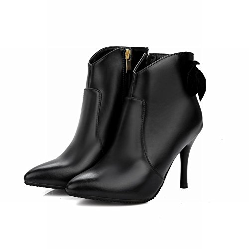 Shoes Black Stiletto Pu Bow Women's Mee High Boots Work Zip Ankle dwzIxqHx