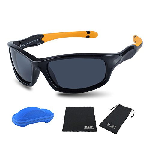 Duco Kids Sports Style Polarized Sunglasses Rubber Flexible Frame For Boys And Girls K006 (Black Frame Orange Temple Grey Lens, - Sport Frames