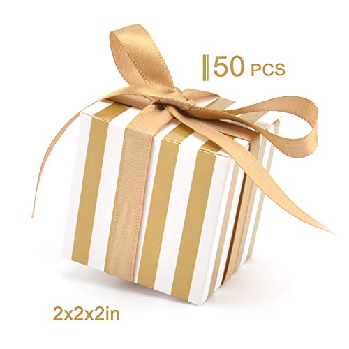 Woparty Candy Box Bulk 2x2x2 inch with Ribbon Gold and White Stripes Design for Wedding Candy Box]()