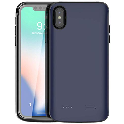 iPhone Xs Max Battery Case,Vocalol 6000mAh Portable Charger Case Power Bank Rechargeable Extended Battery Pack Protective Backup Charging Case Cover for Apple iPhone Xs Max(6.5inch) (Blue)