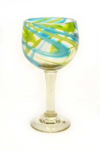 SET OF 4, AQUA AND LIME SWIRL BEAUJOLAIS STYLE WINE GLASSES-14 OUNCES. RECYCLED GLASS. HANDMADE