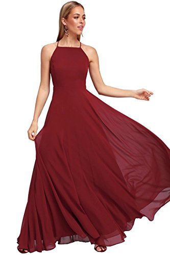Long Backless Women's Party Evening Halter Burgundy Dress Chiffon Gown YORFORMALS Prom Formal ZUqY4ww7