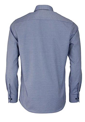 ETERNA Modern Fit Hemd extra langer Arm Struktur mittelblau AL 59