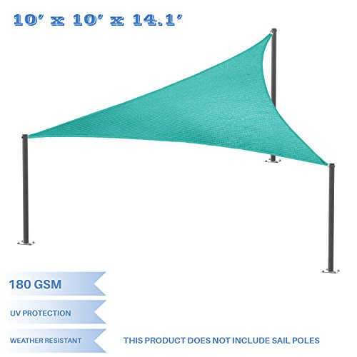 E K Sunrise 10 x 10 x 14 Right Triangle Sun Shade Sail, Shade Fabric Cover Backyard Deck Sail Canopy UV Block – Turquoise Green