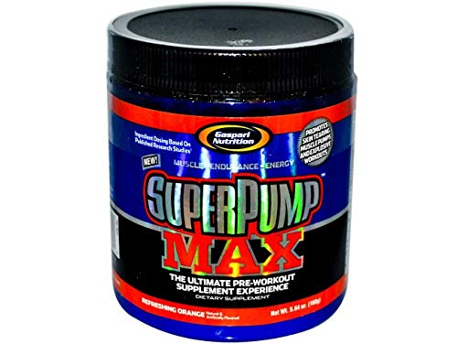 Gaspari Nutrition Super Pump Max, Pre Workout 30 Servings, Non-Habit-Forming, Sustained Energy Nitric Oxide Booster Supports Muscle Growth, Recovery Replenishes Electrolytes, Orange Cooler NEW