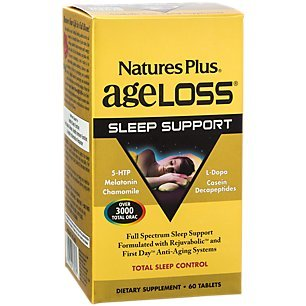 Natures Plus Ageloss Sleep Support - 60 Tablets - Sleep Support Supplement with Melatonin, Chamomile & Antioxidants, Anti Inflammatory, Anti Aging - Gluten Free - 30 Servings