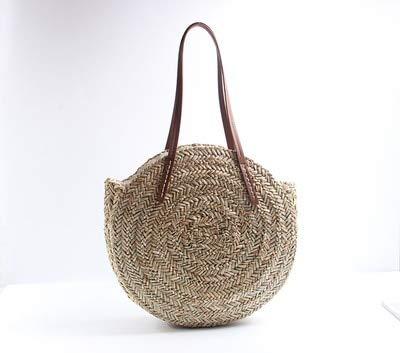 DHmart Moroccan Palm Basket Bag Women Hand Woven Round Straw Bags Natural Oval Beach Bag Big Tote Circle Handbag ping