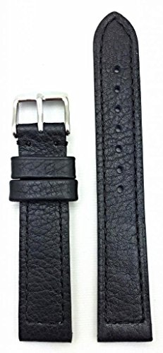 (18mm Black Genuine Leather Watch Band | Buffalo Shrunken Grained, Thick and Flat Padded Replacement Wrist Strap that brings New Life to Any Watch (Mens Standard Length))