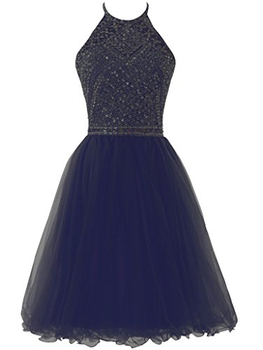 Short Bridesmaid Solovedress Gown Line Navy Prom Party Homecoming Beaded Tulle Dress Evening Women's A O77crqWaX