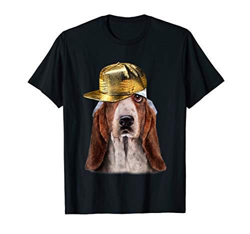 (Basset Hound in Hip Hop Golden Cap, Rapper Dog T-Shirt)