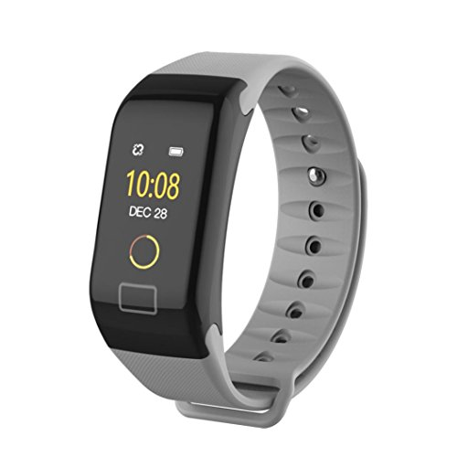 Dreamyth F1 Color screen Color Fitness Blood Pressure Oxygen Heart Rate Monitor Smart Watch Bracelet Durable (gray)