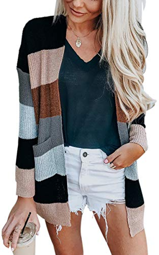(ECOWISH Womens Color Block Striped Draped Kimono Cardigan with Pockets Long Sleeve Open Front Casual Knit Sweaters Coat Black M)