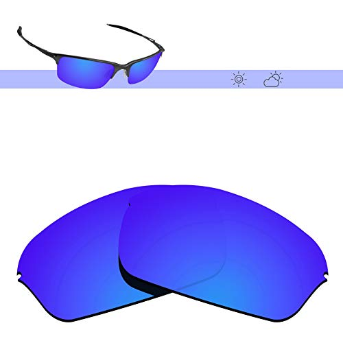 (Glintbay 100% Precise-Fit Replacement Sunglass Lenses for Oakley Half Wire 2.0 - Polarized Deep Blue Mirror)