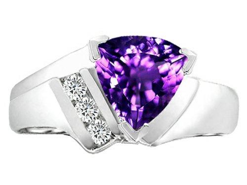 - Tommaso Design Genuine Amethyst Ring 14 kt White Gold Size 9