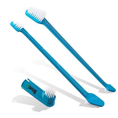 BOSHEL - Cepillo de dientes para perros (2 cepillos de doble cabeza, para un mejor cuidado dental de perros y ambientador de la ducha de perro) - Incluye ...