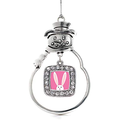 (Inspired Silver - Bunny Charm Ornament - Silver Square Charm Snowman Ornament with Cubic Zirconia Jewelry )