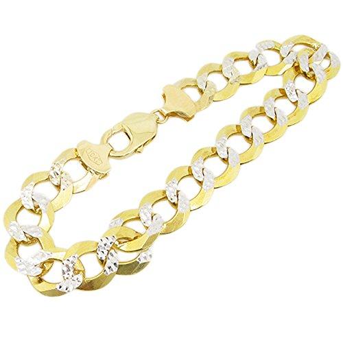 Diamond Gold Figaro Bracelets - IcedTime Mens 10k Yellow Gold diamond cut figaro cuban mariner link bracelet 8.5 inch long and 8mm wide