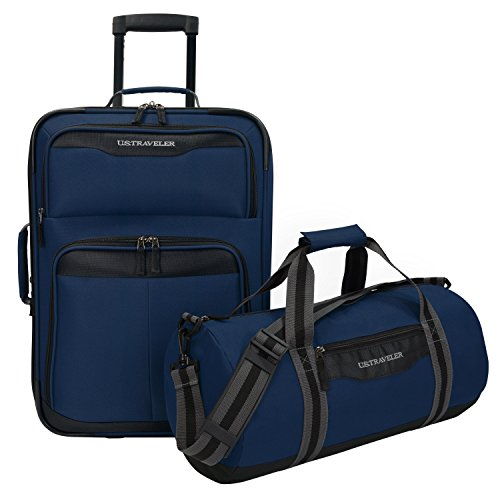 Upright Navy Large Rolling Luggage - U.S Traveler Hillstar Carry-on Expandable Rolling Luggage Set - Navy (17-Inch and 21-Inch)