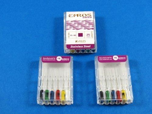 Dental Endodontic Files K 25 mm No 15-40 Stainless Steel Kit 3 / Pack EHROS by EHROS