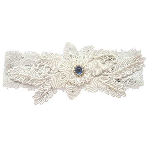 canjoyn Wedding Bridal Lace Garter Set Keepsake Toss Tradition Vintage, (06-Ivory)