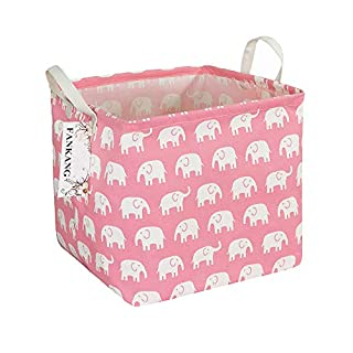 FANKANG Square Storage Bins Nursery Hamper Canvas Laundry Basket Foldable with Waterproof PE Coating Large Storage Baskets Gift Baskets for Kids, Office, Bedroom, Clothes,Toys (Square Pink Elephant)