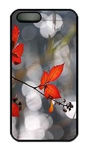 iPhone 5S Case - Customized Unique Design Red Fall Foliage New Fashion PC Black Hard