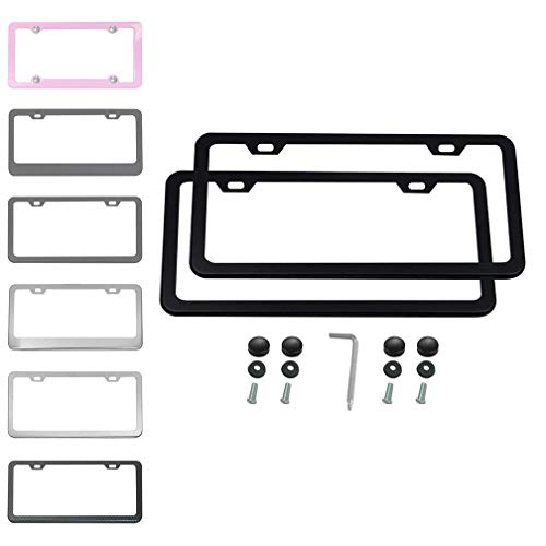 Ibetter 2 PCS Thick Stainless Steel License Plate Frames, Slim Car Licence Plate Holder Covers with Bolts,Washers and Chrome Screw Caps for US Standard (2 Holes Black Slim) - Number Plate Holder