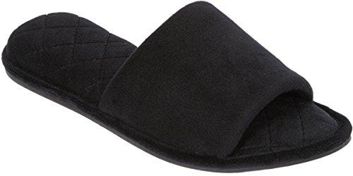 Dearfoams Womens Memory Foam Scuff Slippers Black nMQtyhCP4