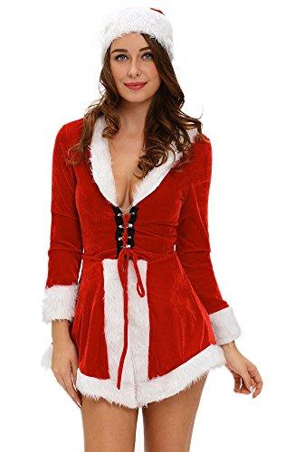 [SK Studio Women's 2 Piece Stretch Dress Christmas Hat Costume Red] (Dance Dress Costumes Studio)