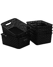 Begale Plastic Storage Basket for Household Organization, Set of 6, Black