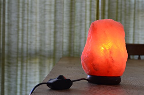 Himalayan Salt Lamp By Mertons Orchard, 7-to-8 inch, 5-to-6 Pounds, With Acacia Wood Base,Bulb and On/Off Dimmer Control,6 foot UL-Approved Electric Cord.
