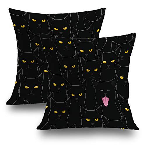 Shrahala Halloween Pillow Covers, Decorative Pillowcases 18x18 inch Set of 2 Black Cat Spooky Halloween Decoration Cushion Case for Sofa Bedroom Car Throw Pillow Covers Cushion Cover 45cm x 45cm]()