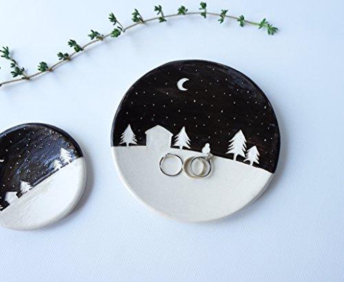 Handmade Ceramic Dish with Snowy Night Silhouette