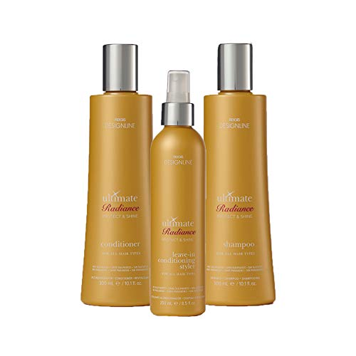 Ultimate Radiance Shampoo and Conditioner Trio Kit - Regis DESIGNLINE - Instantly Detangles, Heals, and Conditions Hair (Regis Designline Ultimate Radiance Leave In Conditioning Styler)