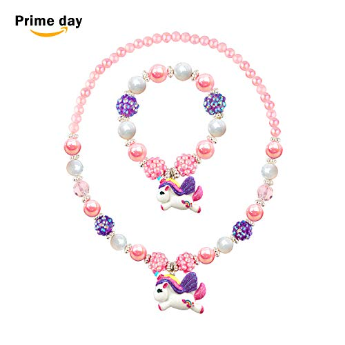 SkyWiseWin Glitter Unicorn Pendant Chunky Bubblegum Necklace and Bracelet Set Girls Gift
