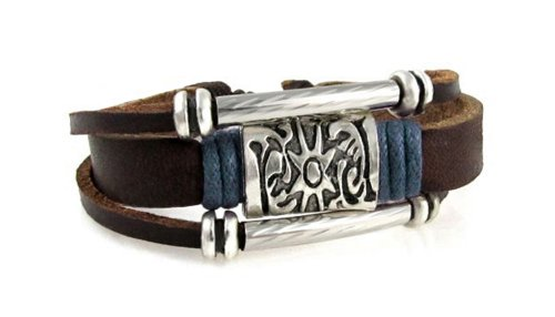 Sun Medallion Blue Accent Leather Zen Bracelet in Gift - Leather Bracelet Karma