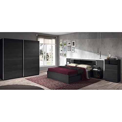 Kiara - Cabecero de cama doble con LED (263 cm) y 2 mesillas, color negro brillante: Amazon.es: Bricolaje y herramientas