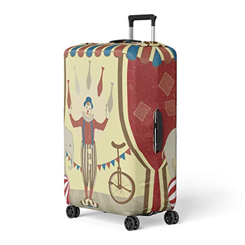 05c88f10484d Pinbeam Luggage Cover Red Circus of Joggles and Elephant Vintage Clown  Travel Suitcase Cover Protector Baggage Case Fits 26-28 inches