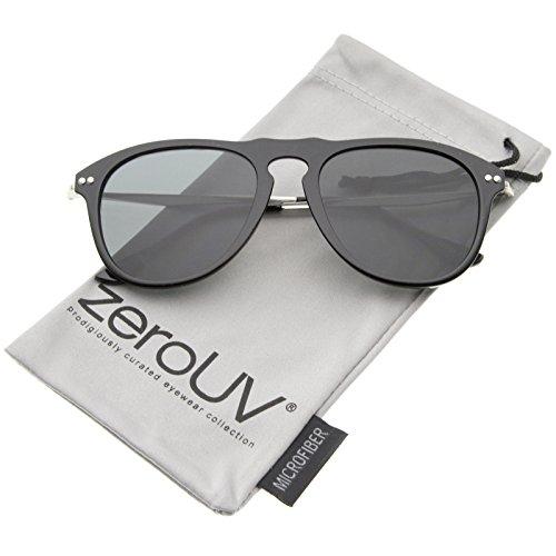 zeroUV - Modern Keyhole Nose Bridge Horn Rimmed Metal Temple Aviator Sunglasses 53mm (Black-Silver / - Nose Bridge Keyhole