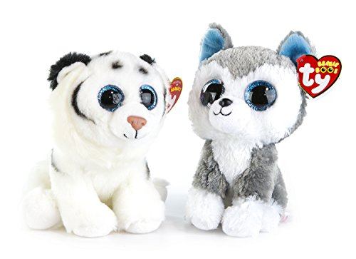 Snow Tiger (Maven Gifts: Ty Beanie Boos 2-Pack – Tundra the White Tiger with Slush the Husky – Lovable Plush Animals with Glittery Eyes)