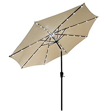 10 Feet Tilt Outdoor Patio Aluminum Umbrella Beige 48 Solar Powered LED Lights w/ 8 Ribs Construction Polyester Canopy for Protection UV Blocking Sun Shelter