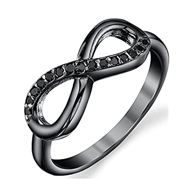 discount Black Sterling Silver 925 Infinity Ring with Black Round Cut Cubic Zirconia get discount