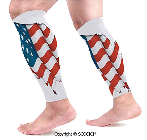 Federation Cycling Socks - Flexible Breathable Comfortable Leg Skin Protector Sleeve Graphic United States Flag American Federations Star Symbol Print Calf Compression Sleeve