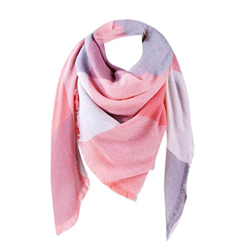 Elogoog Cozy Plaid Neck Scarf Womens Winter Soft Colorful Plaid Blanket  Scarves Checked Tartan 1f8ae356913e