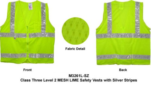 Class Two, ANSI 2004 Double Striped Sleeveless, LIME Safety Vests with Silver stripes XL size