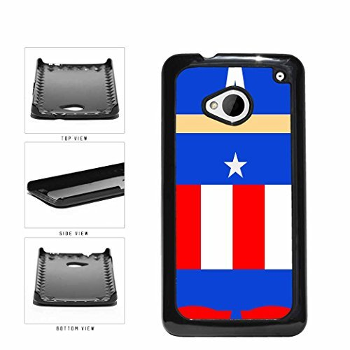 Funny Cartoon Comic Superhero Red White and Blue Plastic Phone Case Back Cover HTC One M7